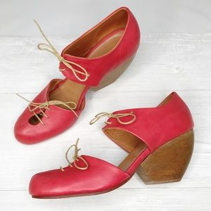 [Rachel Comey] Red Wedge Lace Up Shoes Sz. 9.5